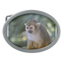Amazing Squirrel Monkey Oval Belt Buckle